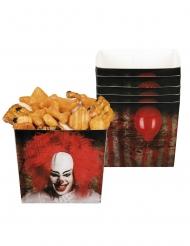 Killerclown-Behälter Tischzubehör für Halloween 6 Stück rot-weiss-schwarz 40cl