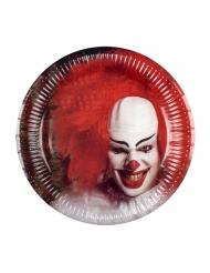 Killerclown-Pappteller Halloween-Tischzubehör 6 Stück rot-weiss-schwarz 23cm