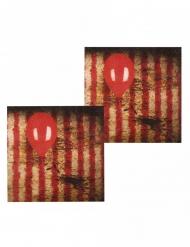 Killer-Clown Servietten mit Luftballon 12 Stück rot-schwarz 33x33cm