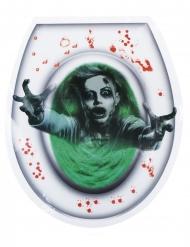 Schauriger WC-Aufkleber Zombie Halloween-Deko grün-grau 28x32cm