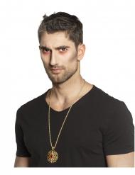 Dämonisches Medaillon Kostüm-Accessoire Vampir-Collier gold-rot