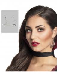 Verführerische Fledermaus-Ohrringe Vampir-Accessoire Halloween silber