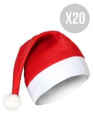 Weihnachtsmützen im Set 20 Stück für Erwachsene rot-weiss