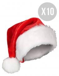 Weihnachtsmützen mit künstlichem Fell 10 Stück rot-weiss