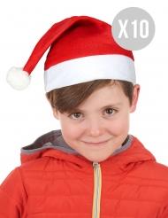 Weihnachtsmützen-Set für Kinder 10 Stück rot-weiss 32cm
