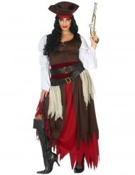 Piraten-Damenkostüm Seeräuberin Fasching braun-rot-schwarz