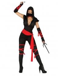 Ninja-Kriegerin Damenkostüm Drachenkriegerin schwarz-rot