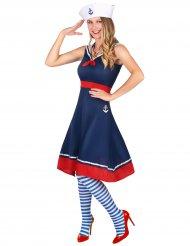 Klassisches Marine-Damenkostüm Seefrau für Fasching blau-rot-weiss