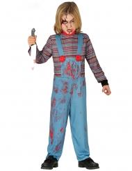 Mörderische-Puppe Kinderkostüm für Halloween blau-rot