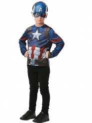 Captain America™-Superhelden-Set für Kinder T-Shirt und Haube bunt