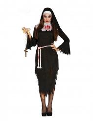 Blutiges Nonnen-Kostüm für Halloween schwarz-weiss-rot