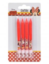 Minnie Maus™-Kerzen Kuchendekoration für Kinder 4 Stück rot 9cm