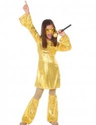 Disco-Tänzerin Kinderkostüm 70er-Jahre gold