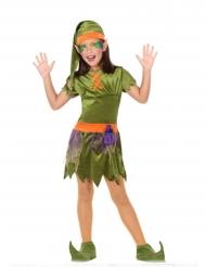 Kobold-Kostüm für Mädchen grün-orange-lila