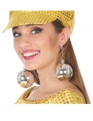 Discokugel-Ohrringe Kostüm-Accessoire für Damen silber