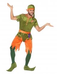 Lustiges Elfen-Kostüm für Herren Wichtel grün-orange-lila