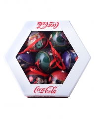 Weihnachtskugeln Coca Cola™-Geschenkbox 7 Stück bunt 7,5cm