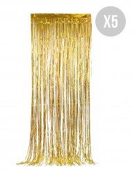 Festlicher Glitzer-Vorhang Wanddekoration 5 Stück gold 90x244cm