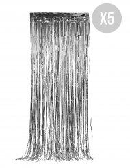 Glitzernder-Vorhang für Festliche-Deko 5 Stück silber 90x244cm