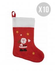 Weihnachts-Strumpf Geschenk und Raumdekoration 10 Stück weiss-rot 48cm
