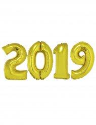 Silvester-Ballons 2019 Partyzubehör 4 Stück gold 1m