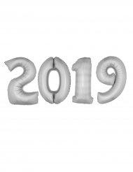 Silvester-Folienballons Jahr 2019 Raumdeko 4 Stück silber 1m