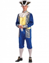Marquis-Herrenkostüm für Fasching Barock blau-gold