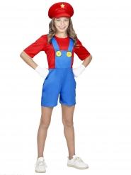 Fleißiges Klempner-Mädchenkostüm Videospiel rot-blau