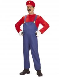 Klempner-Herrenkostüm Retro-Verkleidung blau-rot