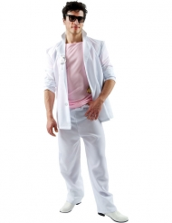 Florida-Detektivkostüm für Herren Macho weiss-rosa