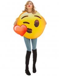 Emoji™ Kussmund mit Herz Kostüm für Erwachsene gelb-rot