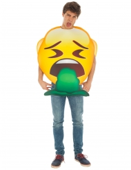 Spuckendes Emoji™-humorvolles Kostüm für Erwachsene gelb-grün
