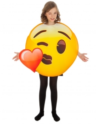 Emoji™-Kussmund mit Herz Kostüm für Mädchen gelb-rot
