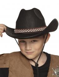 Cowboyhut mit Borte für Kinder schwarz