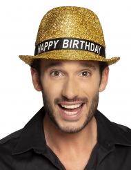 Geburtstags-Strohhut für Erwachsene goldfarben