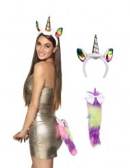 Einhorn-Kostüm-Set Haarreif und Schwanz für Damen bunt