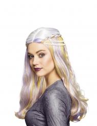 Fantasy-Filmperücke für Damen Kostümzubehör violett-weiss-gelb