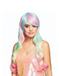 Lange Pastell-Perücke für Damen Regenbogenfarben