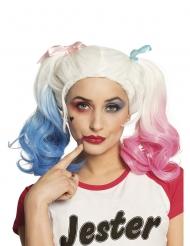 Freche Clown-Perücke für Damen Harlekin weiss-pink-blau