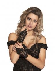 Zarte Fingerhandschuhe aus Spitze Kostüm-Accessoire schwarz