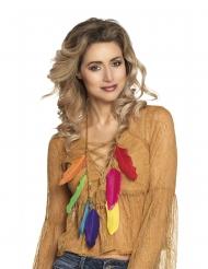 Federkette Kostüm-Accessoire Indianerin bunt