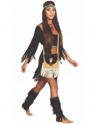 Indianer-Handtasche Kostümzubehör für Erwachsene beige-schwarz