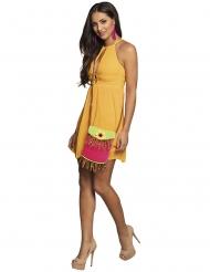 Umhängetasche Hippie mit Sonnenblume Kostümzubehör pink-grün