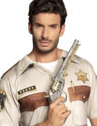 Sheriff-Pistole Spielzeug-Waffe Cowboy Kostümzubehör silber-gold