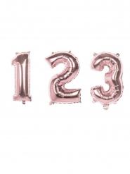 Zahlen-Folienballon rosa metallic 36 cm