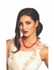 Damen-Halskette mit Perlen Kostüm-Accessoire rot