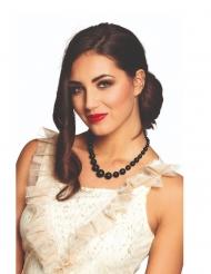 Glamouröse Perlen-Halskette Accessoire für Damen schwarz