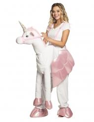 Einhorn Huckepack-Kostüm für Erwachsene weiss-rosa