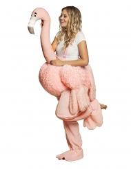 Flamingo Huckepack-Kostüm für Erwachsene Fasching rosa