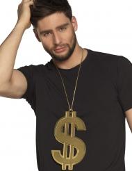 Übergroße Dollar-Kette Gangster-Zubehör gold 24cm